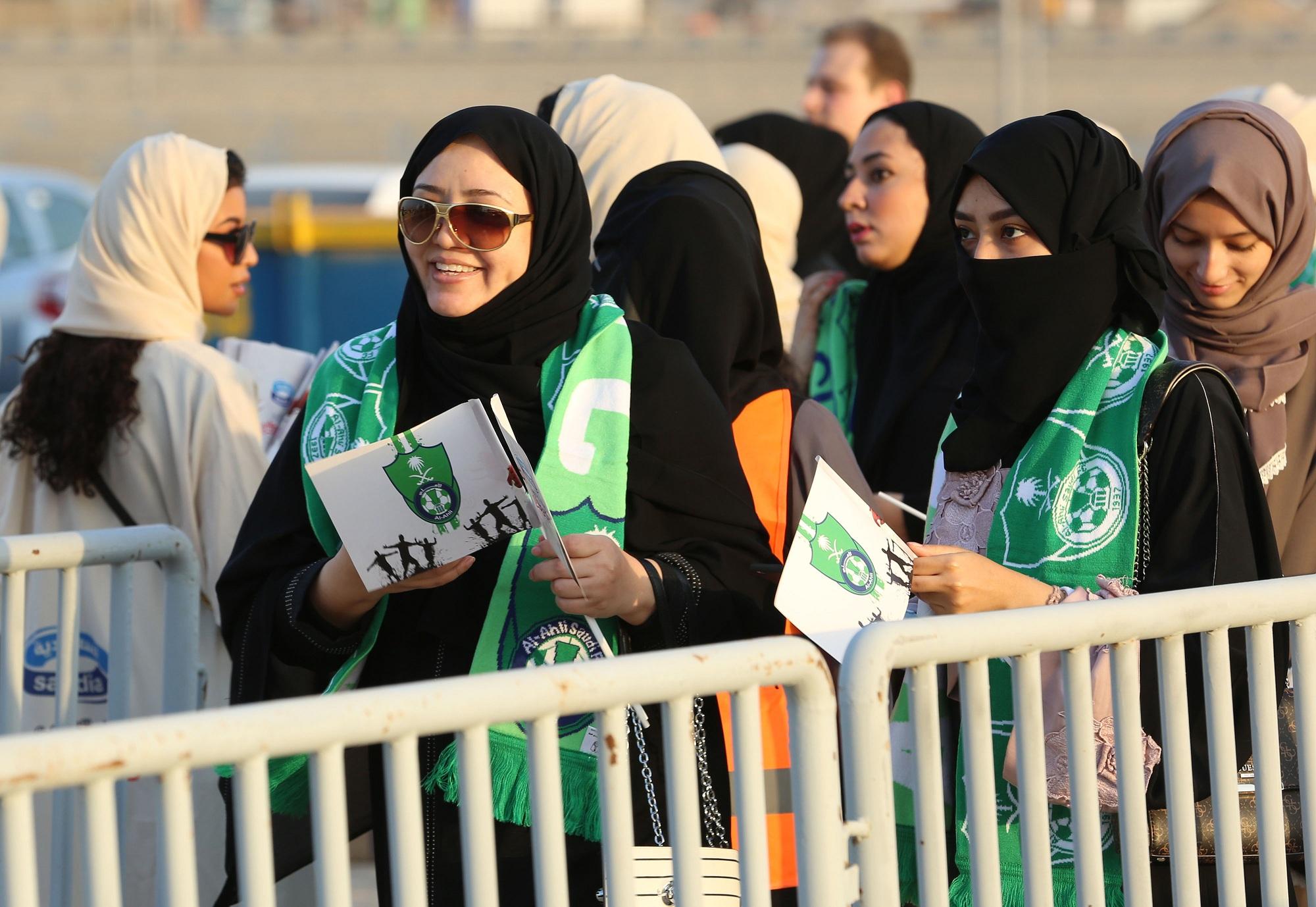 Women entered the stadium through a separate entrance
