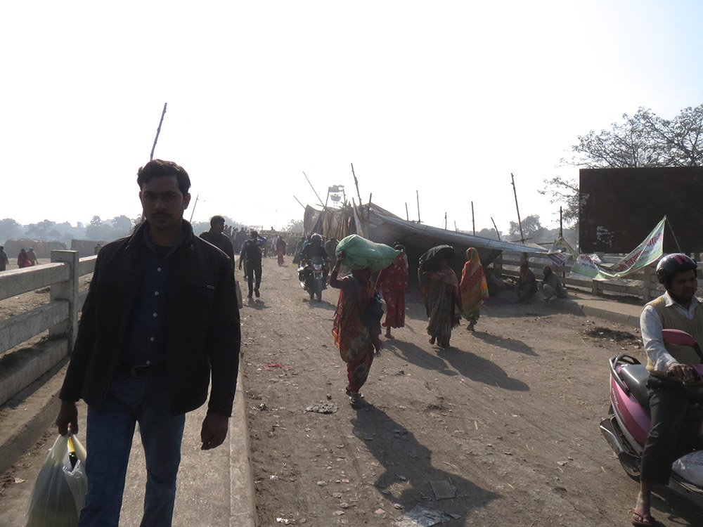 This tent on the bridge through which most of goods entering Nepal pass has become the main site of the economic blockade by Madhes protestors. Photo: Anumeha