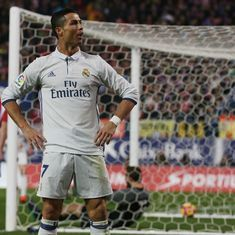 Watch Cristiano Ronaldo set yet another record with two great goals against Sporting Gijon