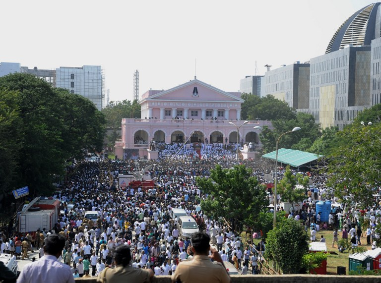 Thousands of supporters at Rajaji Hall, where Jayalalithaa's body was kept before her funeral.