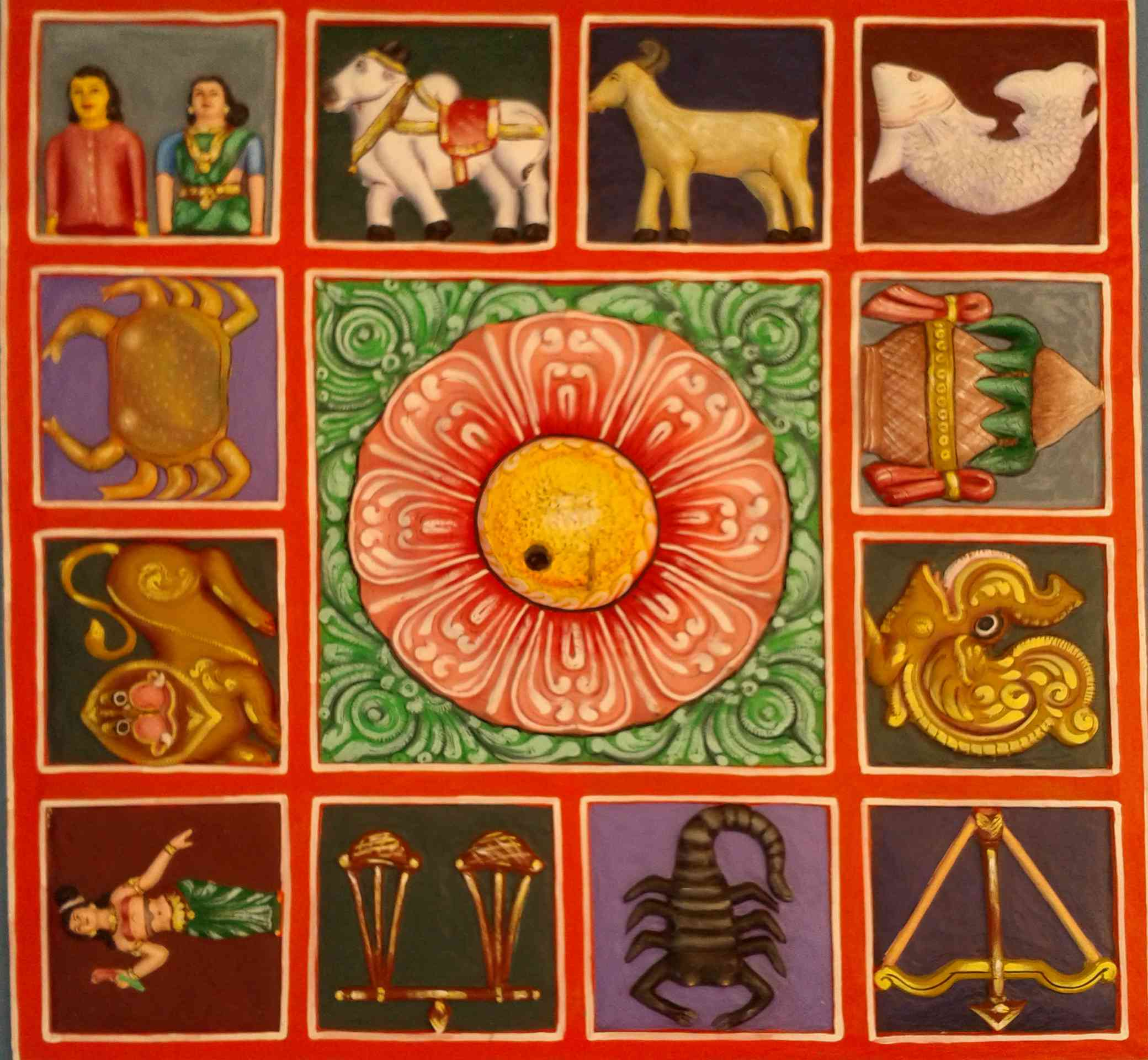 Zodiac symbols on the terrace of a gopuram in Kanipakam, Andhra Pradesh.