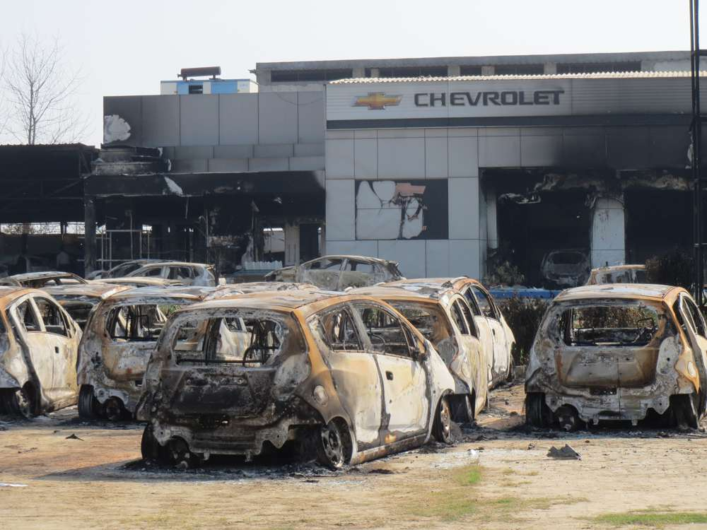 More than 200 cars were gutted in the Chervolet showroom on Rohtak-Sonipat road.