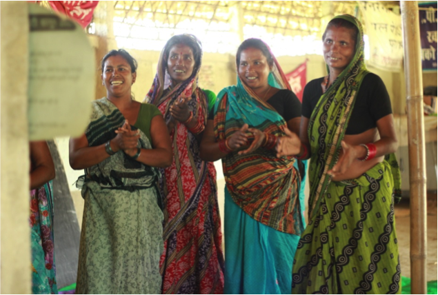 Radha Devi (second from right) is a landless Dalit MNREGA worker who organised workers to demand their entitlements.