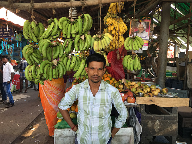 This fruit-seller is among those who have had to turn to the informal market.