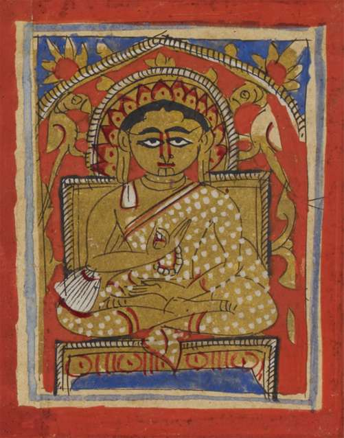 Miniature of Gautamasvamin seated, in the typical Svetambara monastic dress and holding a rosary, 15th century (British Library Or 2126A).