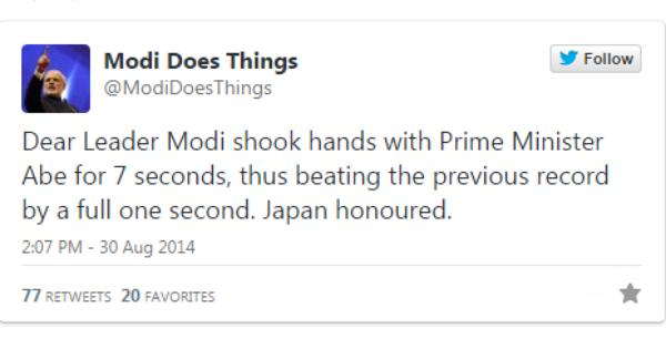 Modi is doing things in Japan and a parody Twitter account is telling us all about it