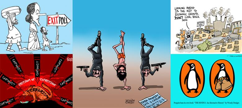 VIP security, censorship, polls ‒ they're all fodder for winners of Maya Kamath cartoon awards