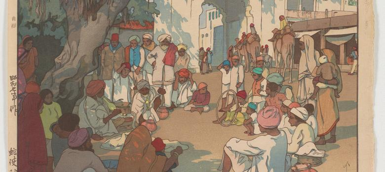 Exquisite postcards depict 1930s India in Japanese woodblock style