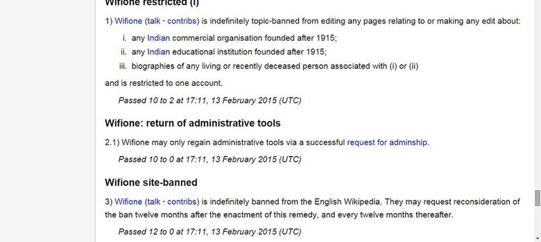 Wikipedia bans editor for consistent bias in favour of Arindam Chaudhuri's IIPM