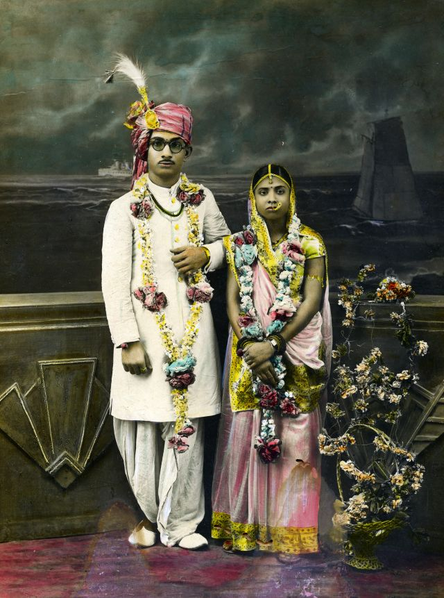 Unknown photographer and artist, Wedding portrait of an Indian couple, 1920-40. Photo credit: © Alkazi Foundation for the Arts