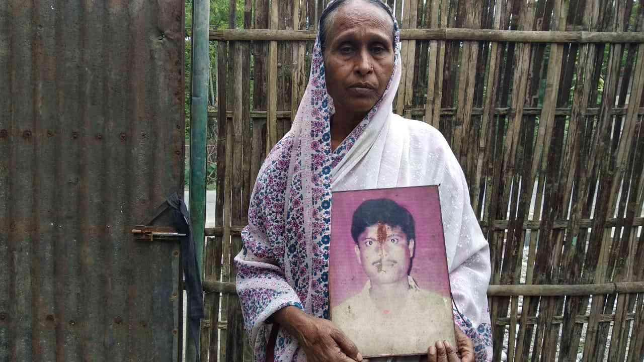 Vidya Devi, mother of Satyanarayan Gupta, who was among the 10 men killed