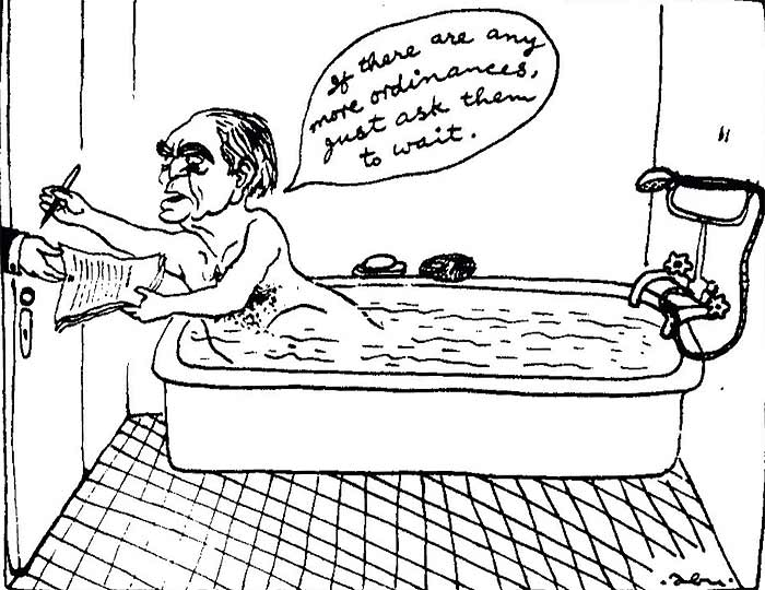 Abu Abraham's cartoon depicting President Fakhruddin Ali Ahmed was published in The Indian Express during the Emergency.