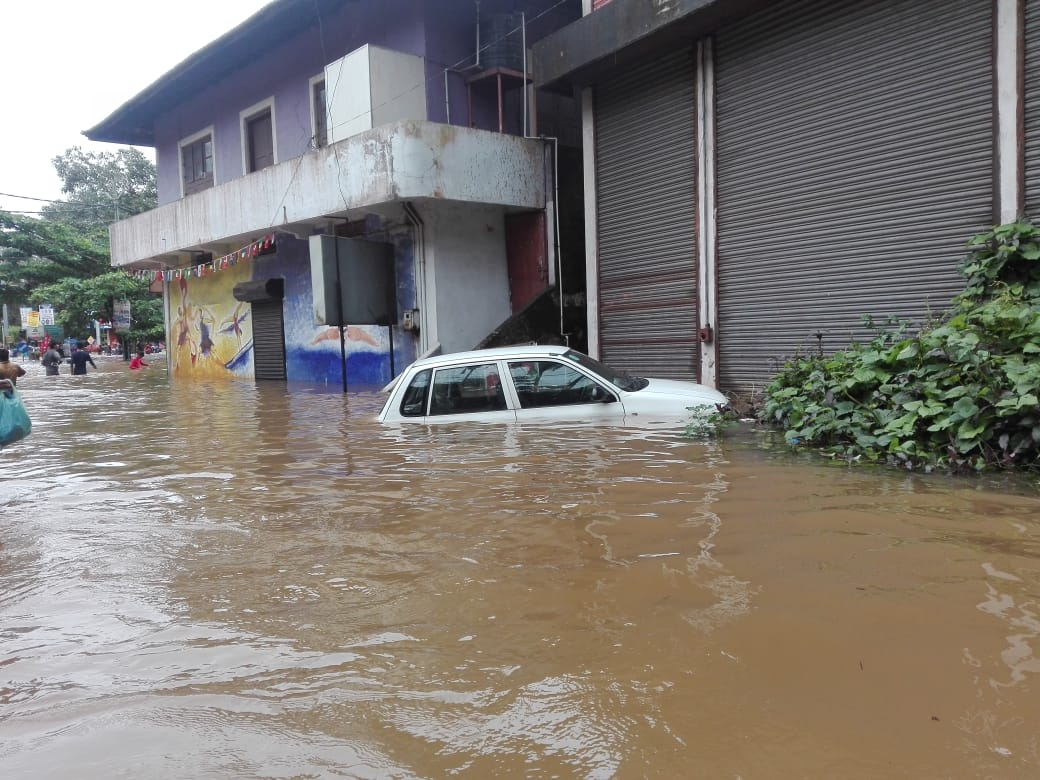 A partially submerged car in Kottayam district's Pala town (Photo credit: Madhumitha Tony Jose)