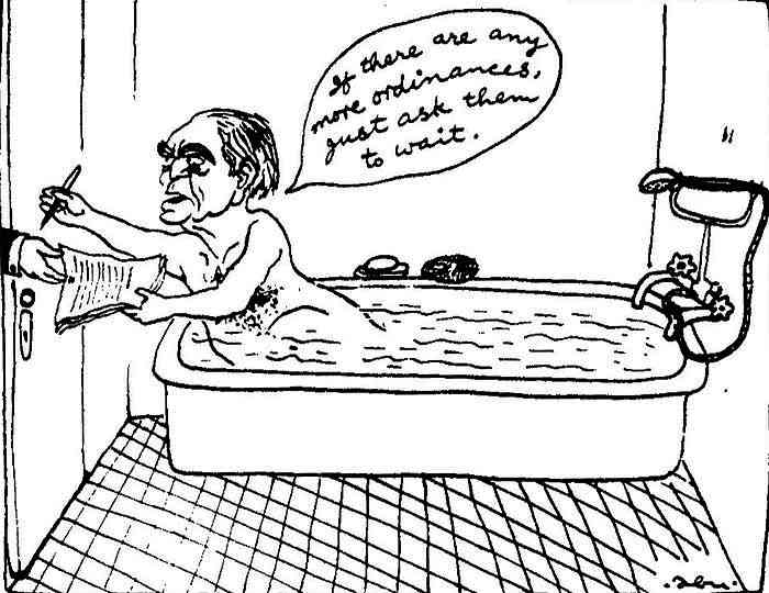 An Abu Abraham cartoon lampoons President Fakhruddin Ali Ahmed's signing of the ordinance that ushered in Emergency in 1975.