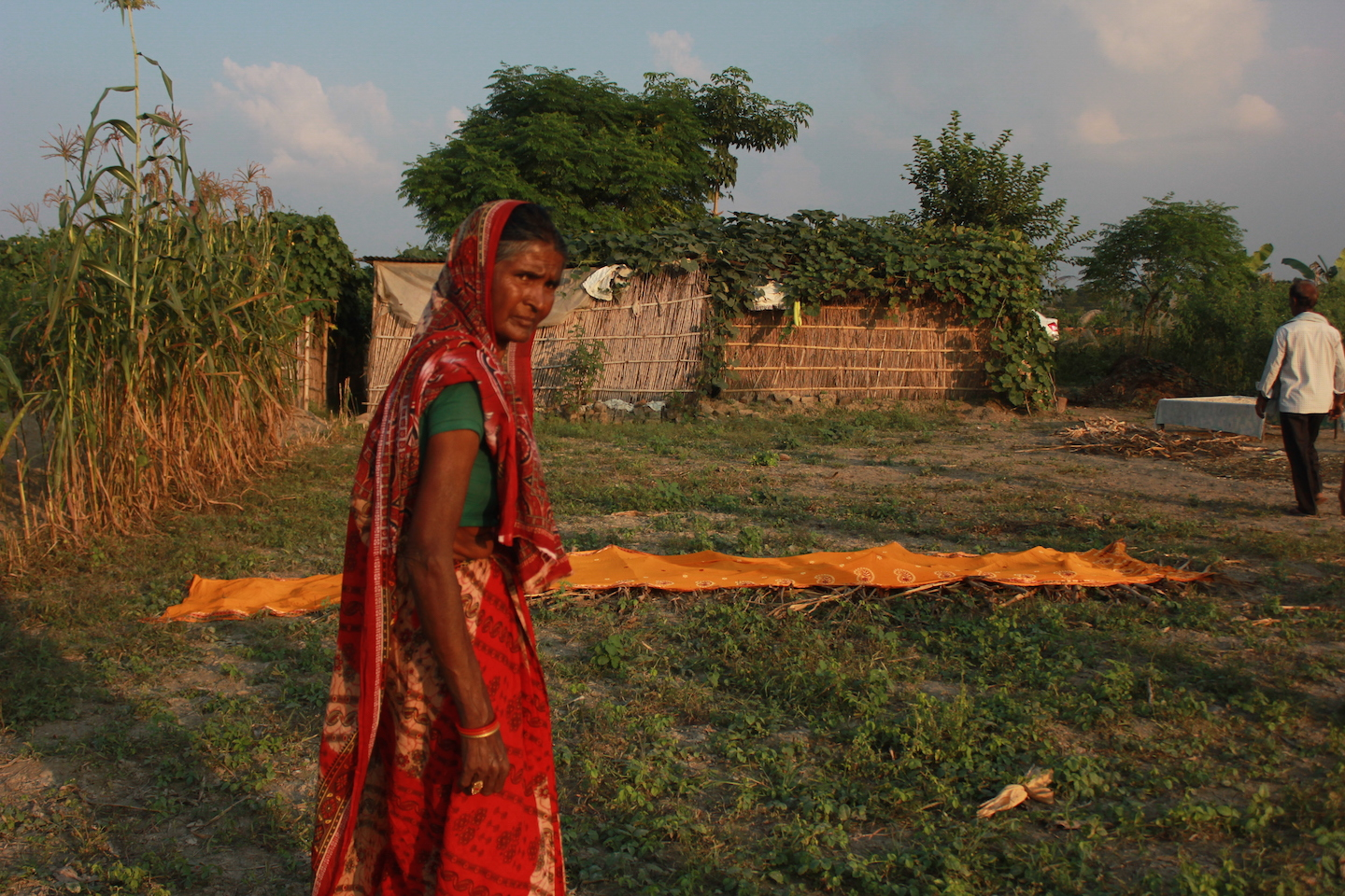 Rajnibai Baitha at her family's one-acre farmland . Photo credit: Raksha Kumar
