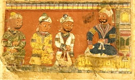Nizamuddin Auliya with three attendants. Photo credit: Smithsonian Unrestricted Trust Funds/Wikimedia Commons [Public Domain]