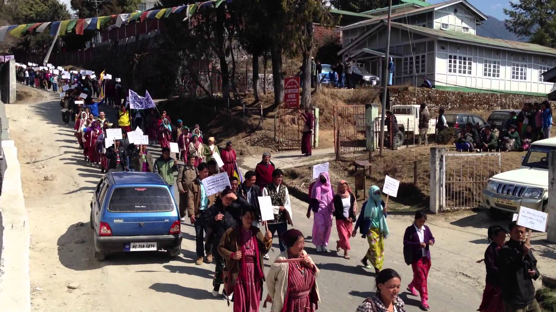 An anti-dam protest in Tawang. The people of Arunachal Pradesh have traditionally been opposed to big dams. (Credit: Lobsang Tashi / via YouTube)