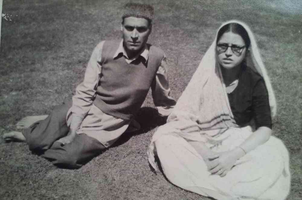 Author's grandfather and grandmother, Omkar Nath Gigoo and Uma Shori Gigoo (1970, Kashmir)