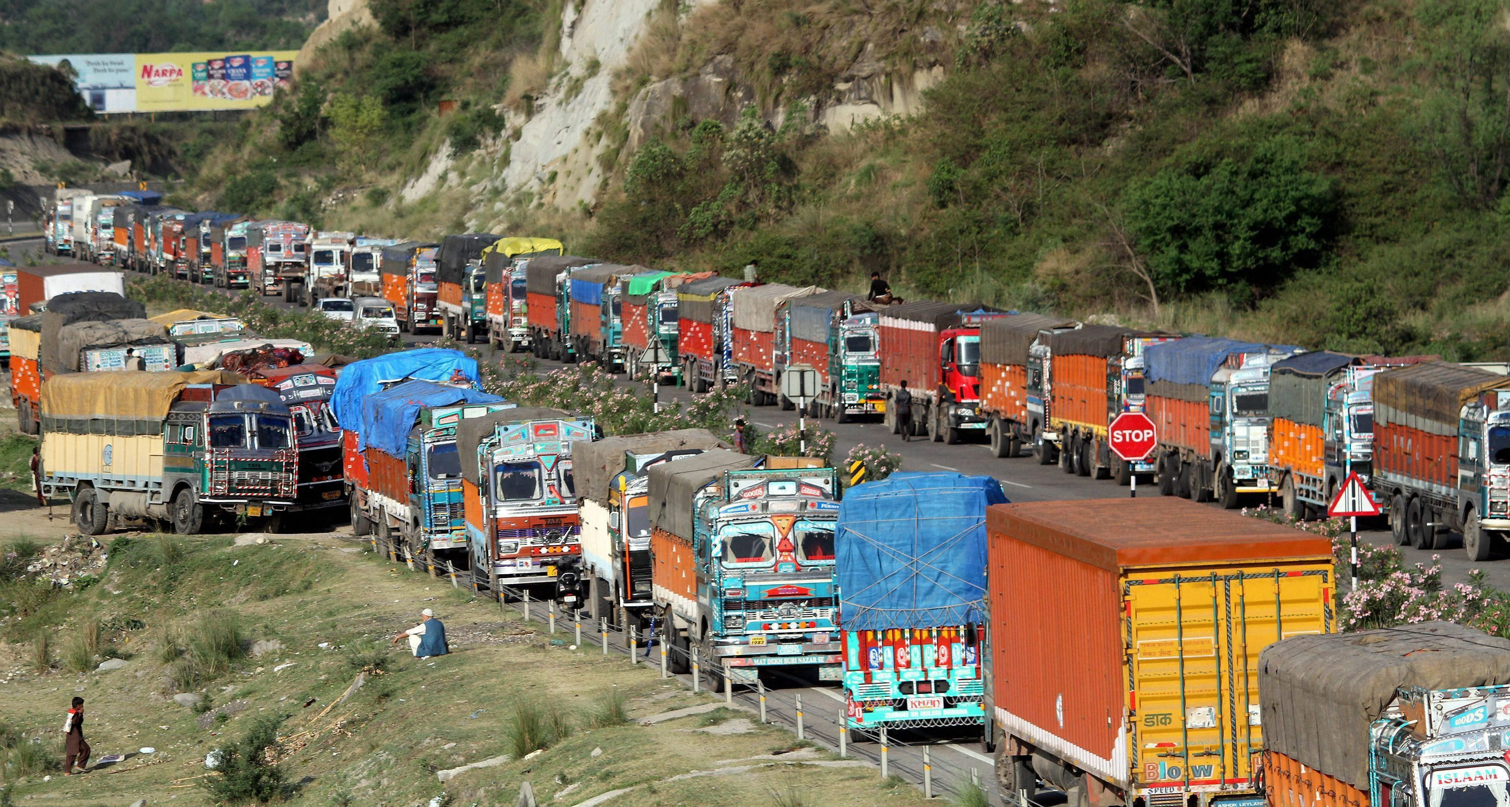 Trucks carry government records from Jammu to Srinagar during the half-yearly Durbar Move. Image credit: PTI