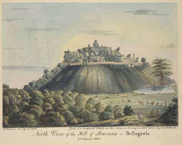 North view of Vindyagiri Hill, Sravana Belgola (Karnataka), 17 August, 1806 (BL WD576)