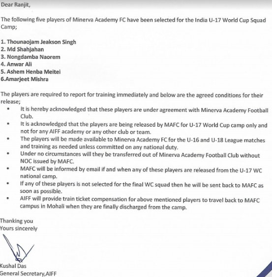AIFF's letter to Minerva Punjab asking for their players.