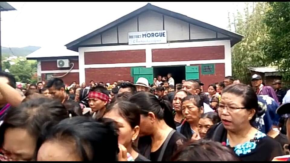 Family members and civil society leaders at the morgue at Churachandpur hospital, where the bodies were kept for close to two years. The morgue was set up after the protests.