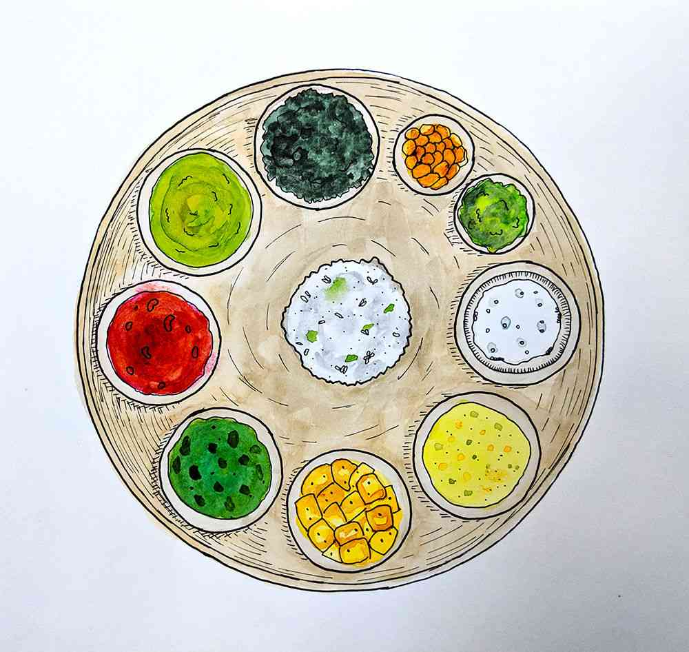 A Garhwali thali. Illustration by Nithya Subramanian.