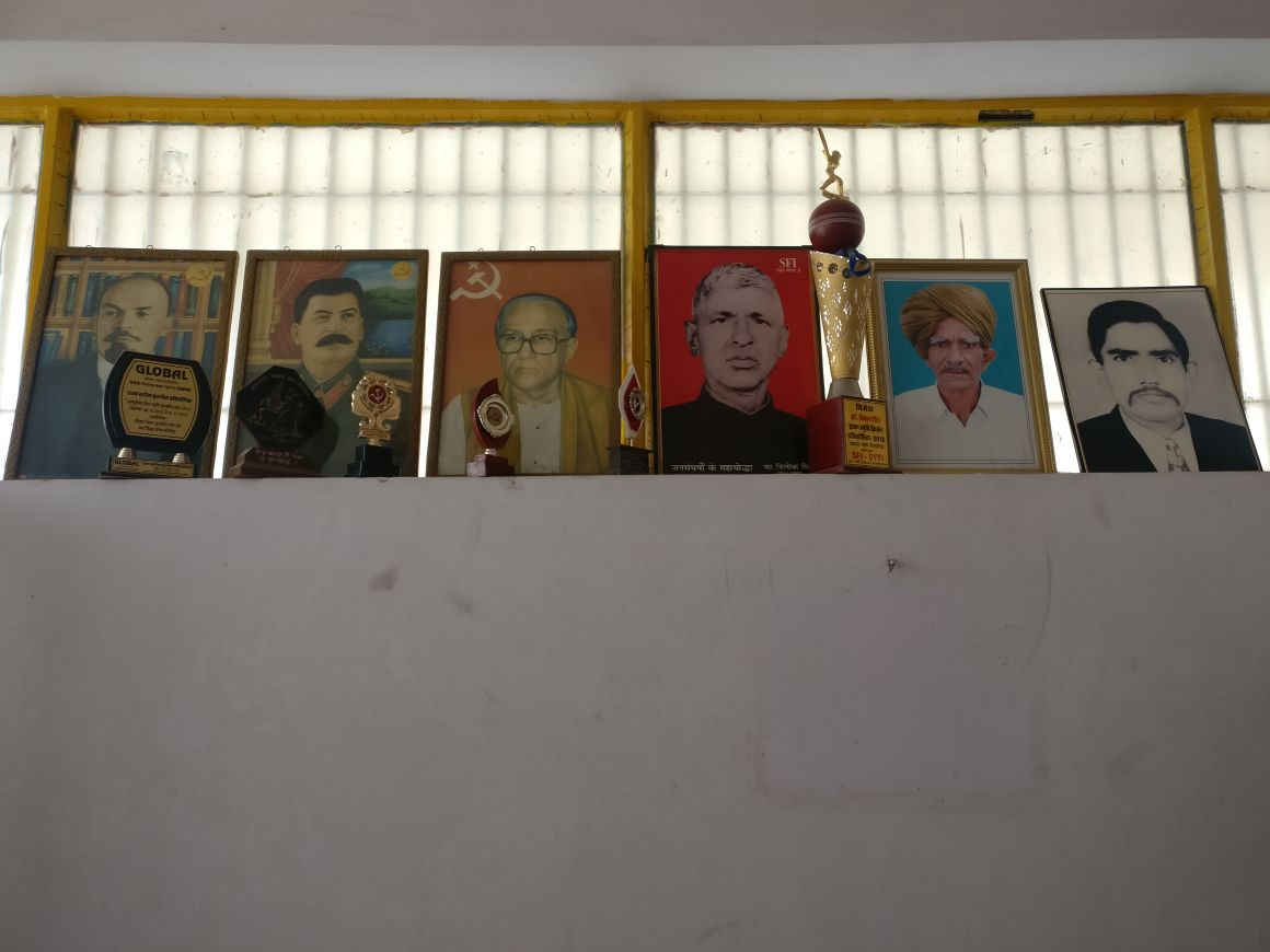 (From left) Portraits of Lenin, Stalin, Jyoti Basu, Trilok Singh, Jowar Singh and Kishan Singh Dhaka adorn the CPI(M) office in Sikar. The last three are local CPI(M) leaders from the Shekhawat region.