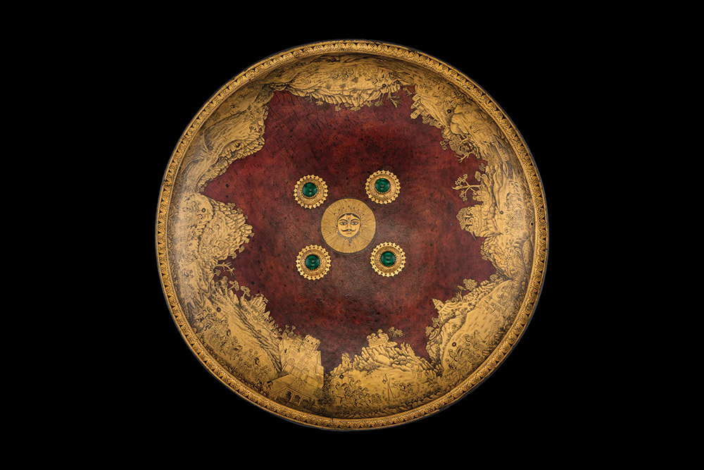 Shield (Dhal) of Maharana Sangram Singh II, made of rhino hide, Mewar, about 1730 CE. Photo: National Museum