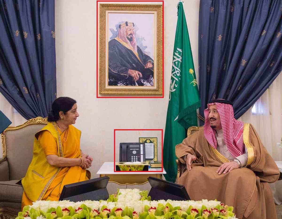 सऊदी अरब में किंग सलमान के साथ विदेश मंत्री सुषमा स्वराज (साभार : अरब न्यूज़/ट्विटर)