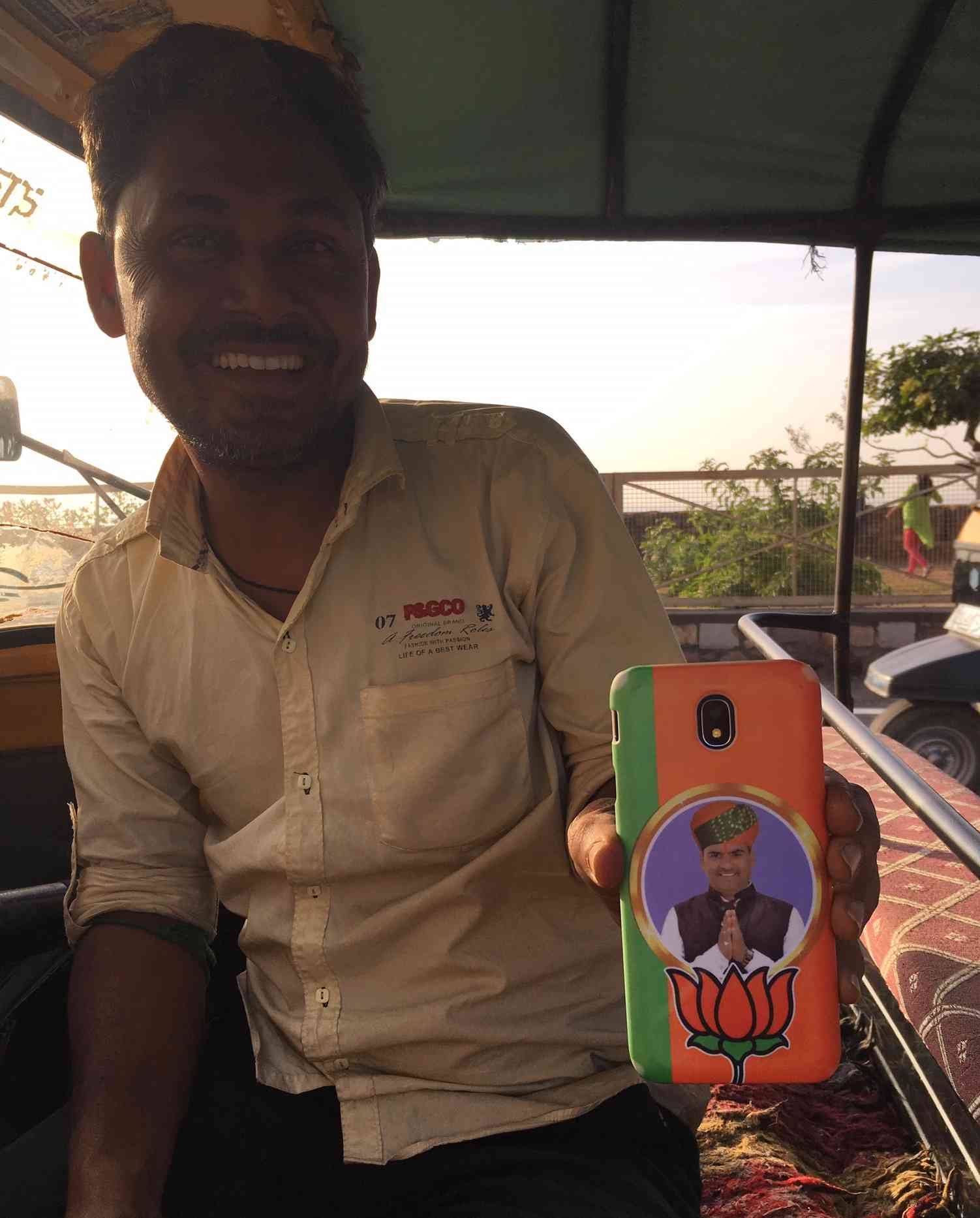 A BJP supporter in Chittorgarh. The district was the epicentre of the Padmaavat protests by Rajputs in 2017.