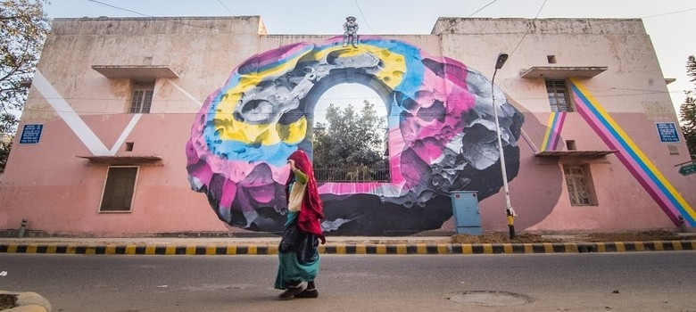 'It's pretty, but what is it?': Delhi gawps at its giant new murals