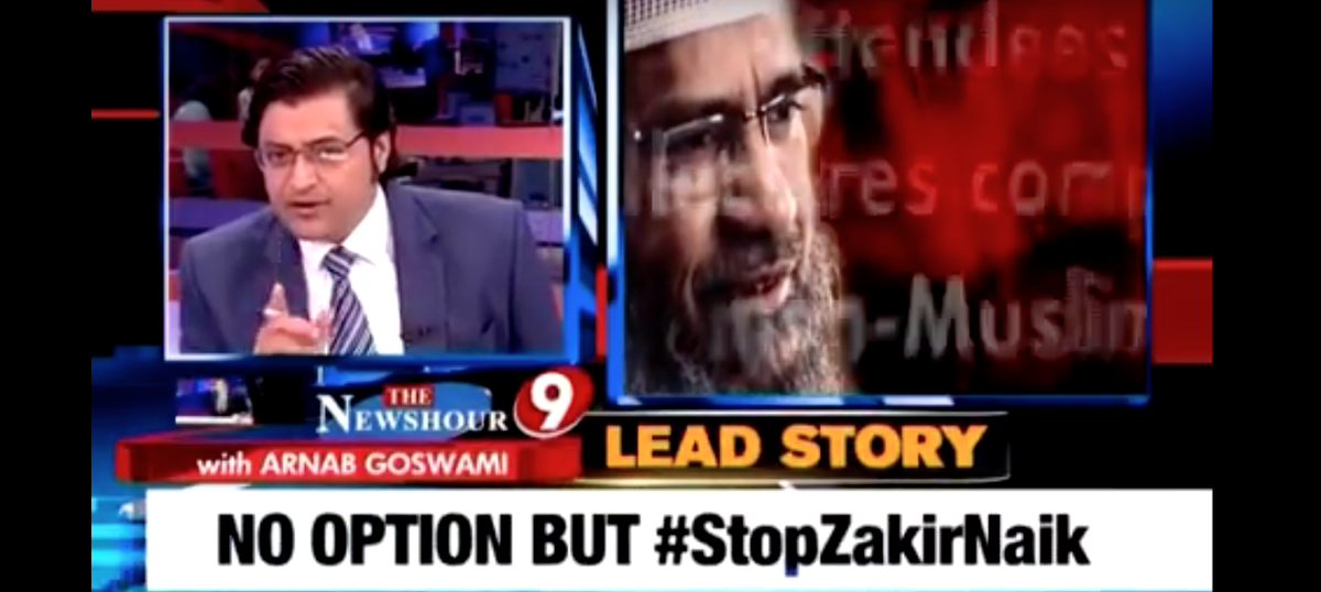 Zakir Naik files Rs 500-crore defamation case against Arnab Goswami, sues him for 'media trial'