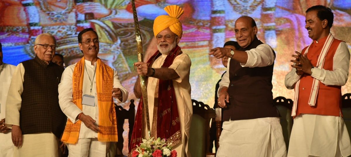 chanting jai shri ram modi sounds poll bugle in uttar pradesh