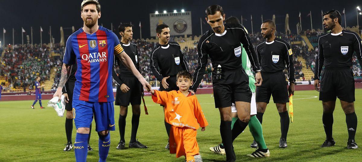 bda22ad76 Afghan boy famous for plastic bag jersey meets Lionel Messi