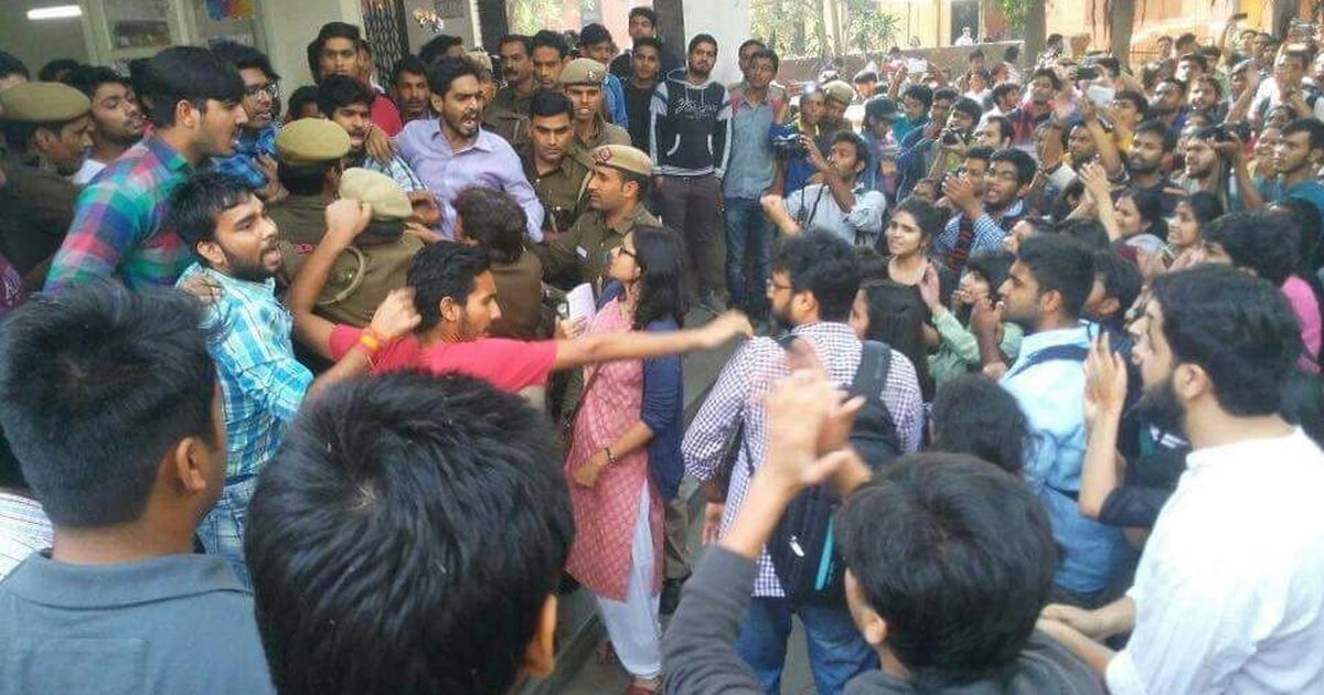 Students clash outside Delhi's Ramjas college over cancellation of seminar