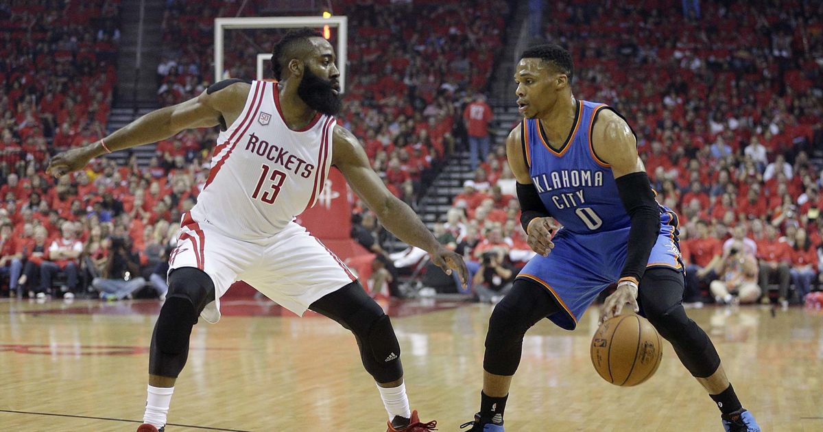 590653191bf7 NBA Playoffs  James Harden helps Rockets oust Russell Westbrook s Thunder   Spurs