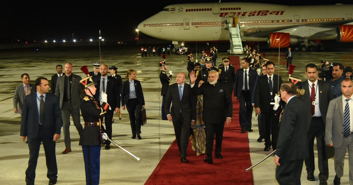 Narendra Modi arrives in France, where he will meet President Emmanuel Macron