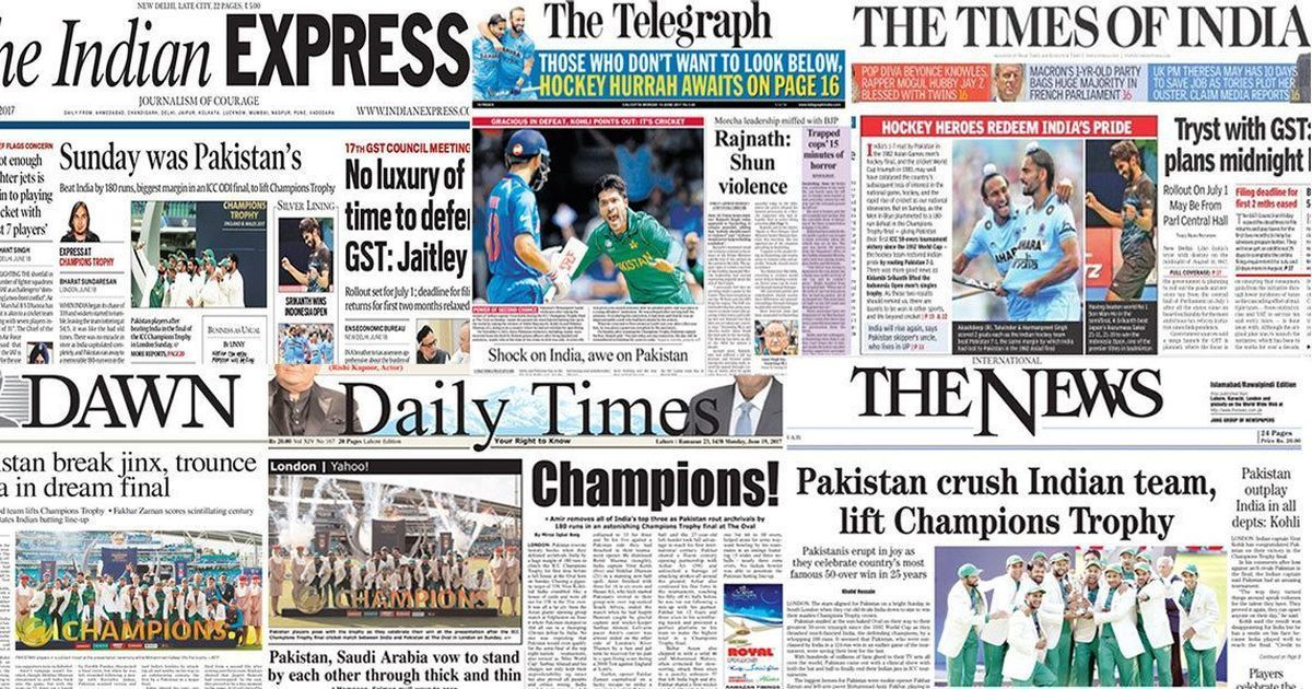 The day after the Champions Trophy final, how Pakistani and Indian front pages covered the game
