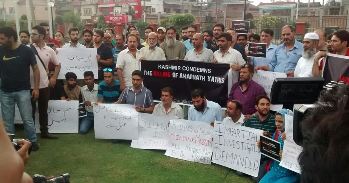 On the streets of Srinagar and social media, Kashmiris protest against killing of Amarnath pilgrims