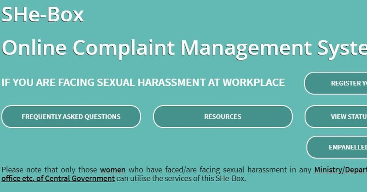 Govt launches online complaint box for sexual harassment cases