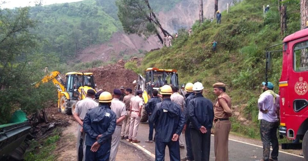 Six dead as landslide buries buses