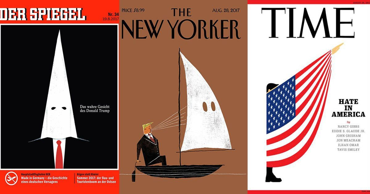 Magazine covers from around the world criticise Trump's reaction to Charlottesville violence