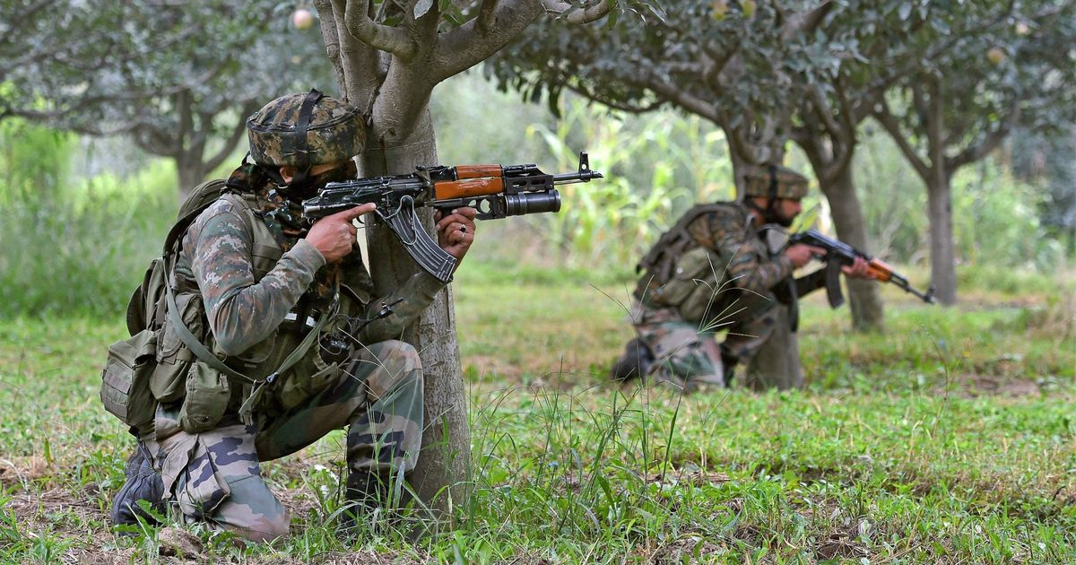 Four militants, two security men killed in J&K forest shootout