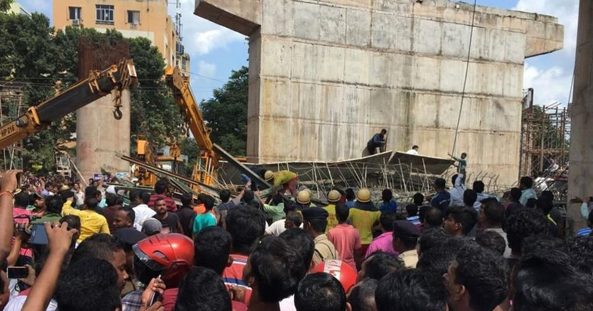 Image result for Bhubaneswar: 1 killed as under-construction railway flyover collapsed