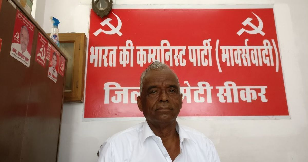 Three-time MLA from the CPI(M) and National President of the All India Kisan Sabha, Amra Ram, in the CPI(M) office in Sikar, Rajasthan. | Image credit: Shoaib Daniyal