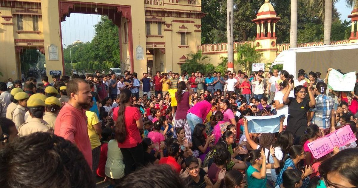 Banaras Hindu University students protest against a case of molestation ahead of Modi's visit