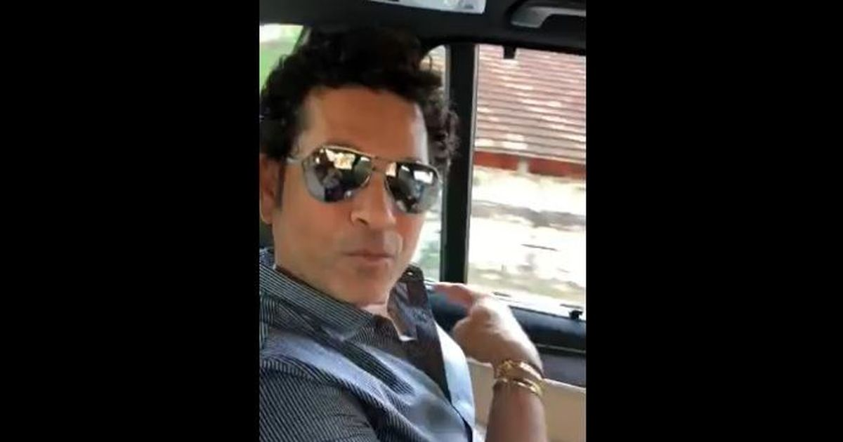 Sachin Tendulkar plays cricket with youngsters on a Mumbai street