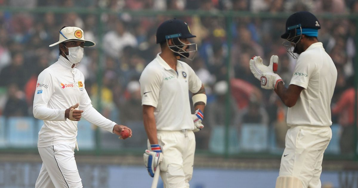 India vs Sri Lanka: Kohli smashes career-best 243 as Delhi pollution clouds proceedings