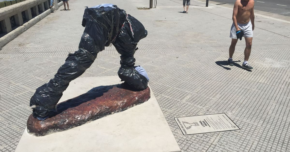 Lionel Messi's statue in Argentina vandalised again, this time cut off at ankles